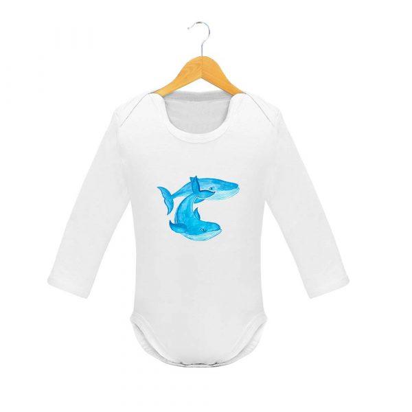 Body de manga larga ballenas azules