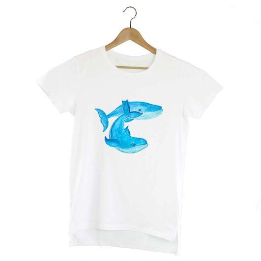 Camiseta Extra Larga Ballenas Azules